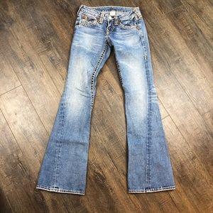 True Religion Medium Wash Flare Jeans Pants 25